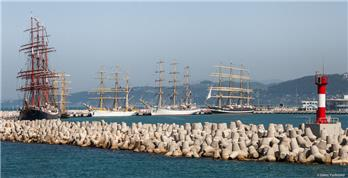 Sailing ships at the Port of Sochi